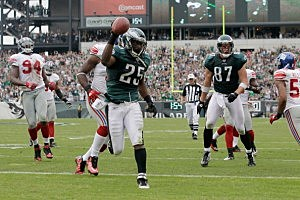 Running back LeSean McCoy scores a touchdown against the New York Giants