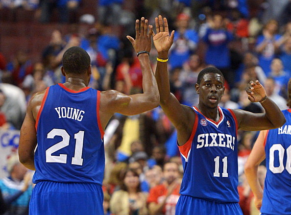 Thaddeus Young and Jrue Holiday of the Philadelphia 76ers