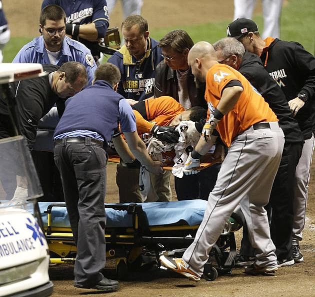 [VIDEO] : Giancarlo Stanton Taken To Hospital After