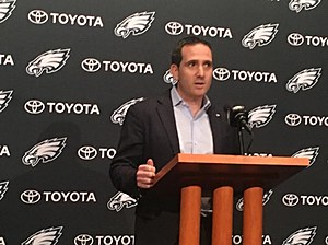 Howie Roseman speaks at the NovaCare Complex on Wednesday. (Photo: John McMullen, 973espn.com)