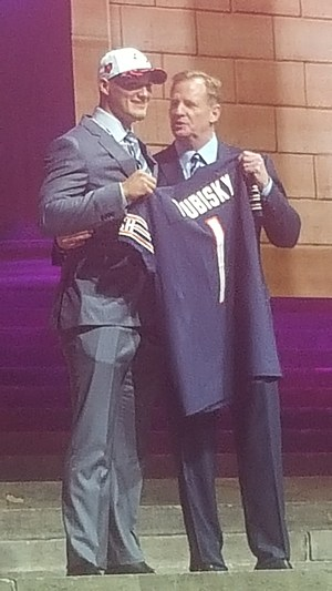 Chicago Bears QB Mitchell Trubisky Greets NFL Commissioner Roger Goodell at the NFL Draft