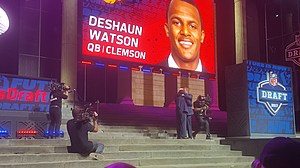 Houston Texans Quarterback DeShaun Watson greets NFL Commissioner Roger Goodell at the NFL Draft