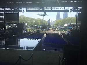 View from the NFL Draft stage overlooking the Ben Franklin Parkway