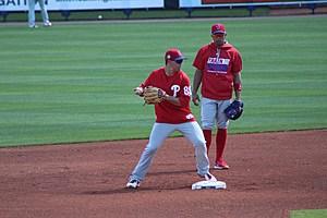 Scott Kingery takes ground balls with Cesar Hernandez in Spring Training (Brandon Apter/Sports Talk Philly)