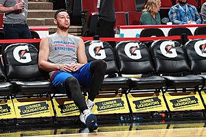 Ben Simmons (right foot surgery) said during ESPN's telecast on Sunday that he's resumed playing 5-on-5. (Jeff Haynes, Getty Images).