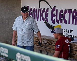Special Assistant to the GM Charlie Manuel talks with Rhys Hoskins (Steven Kiebach/Sports Talk Philly)